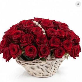 Цветы букет 51 красная роза в корзине