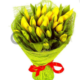 Цветы букет 25 желтых тюльпанов