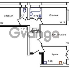 Продается квартира 3-ком 61 м² Левитана