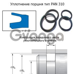 Пневматические уплотнения, манжеты поршня серия PAN 310
