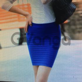 Темно-синяя юбка-резинка