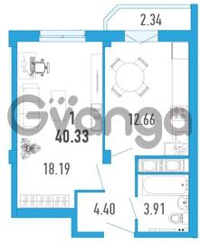 Продается квартира 1-ком 40 м² улица Шувалова 1, метро Девяткино