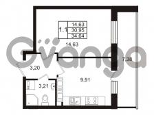 Продается квартира 1-ком 30.95 м² Комендантский проспект 53к 1, метро Комендантский проспект