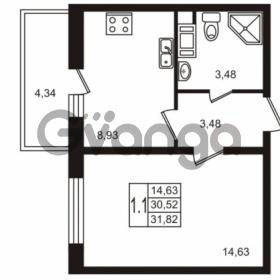 Продается квартира 1-ком 30.52 м² Комендантский проспект 53к 1, метро Комендантский проспект