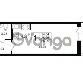 Продается квартира 1-ком 26 м² Шоссейная 1, метро Ладожская