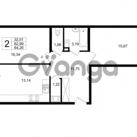 Продается квартира 2-ком 64 м² Шоссейная 1, метро Ладожская