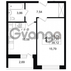 Продается квартира 1-ком 39 м² Шоссейная 1, метро Ладожская