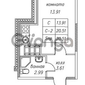 Продается квартира 1-ком 20.51 м² улица Валерия Гаврилина 18к 1, метро Парнас