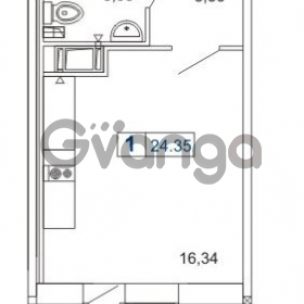 Продается квартира 1-ком 24.35 м² Новая улица 1, метро Девяткино