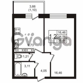 Продается квартира 1-ком 34.56 м² Советский проспект 42, метро Рыбацкое