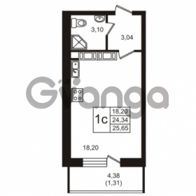 Продается квартира 1-ком 24.34 м² Советский проспект 42, метро Рыбацкое