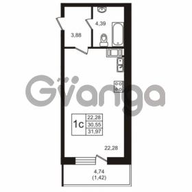 Продается квартира 1-ком 30.55 м² Советский проспект 42, метро Рыбацкое