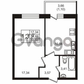 Продается квартира 1-ком 34.88 м² Советский проспект 42, метро Рыбацкое
