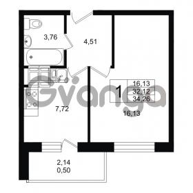 Продается квартира 1-ком 34.26 м² улица Шувалова 1, метро Девяткино