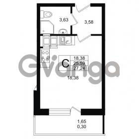 Продается квартира 1-ком 27.24 м² улица Шувалова 1, метро Девяткино