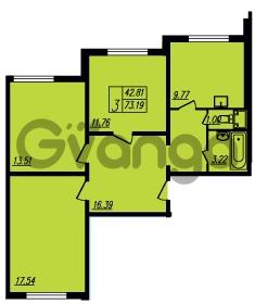 Продается квартира 3-ком 73 м² Ленинский проспект 69, метро Проспект Ветеранов