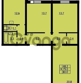 Продается квартира 3-ком 80 м² Муринская дорога 7, метро Гражданский проспект