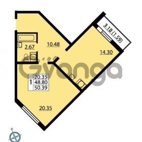 Продается квартира 1-ком 50 м² Ленинский проспект 69, метро Проспект Ветеранов