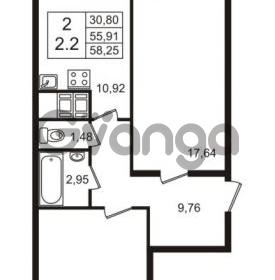 Продается квартира 2-ком 55.91 м² Английская улица 1, метро Улица Дыбенко