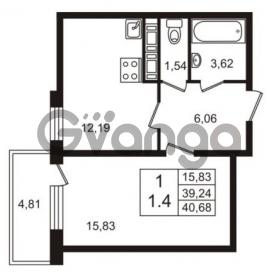Продается квартира 1-ком 39.24 м² Английская улица 1, метро Улица Дыбенко