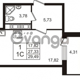 Продается квартира 1-ком 27.33 м² Английская улица 1, метро Улица Дыбенко