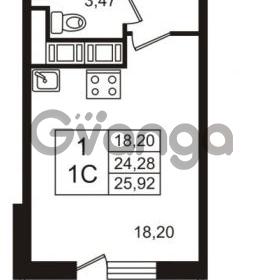 Продается квартира 1-ком 24.28 м² Английская улица 1, метро Улица Дыбенко