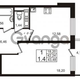 Продается квартира 1-ком 42.24 м² Европейский проспект 9к 1, метро Улица Дыбенко
