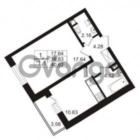 Продается квартира 1-ком 38.83 м² Европейский проспект 9к 1, метро Улица Дыбенко