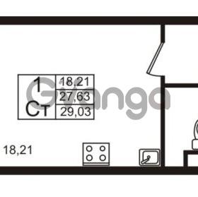 Продается квартира 1-ком 27.63 м² Европейский проспект 9к 1, метро Улица Дыбенко