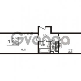 Продается квартира 1-ком 43.02 м² улица Пионерстроя 29, метро Проспект Ветеранов