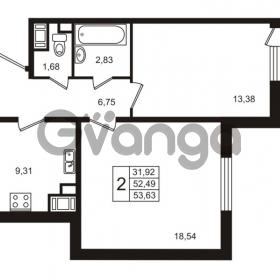 Продается квартира 2-ком 52.49 м² улица Пионерстроя 29, метро Проспект Ветеранов