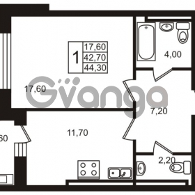 Продается квартира 1-ком 42.7 м² Приморский проспект 44, метро Старая деревня
