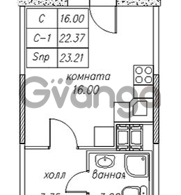 Продается квартира 1-ком 23.21 м² улица Валерия Гаврилина 18к 1, метро Парнас