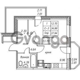Продается квартира 1-ком 37.94 м² улица Валерия Гаврилина 18к 1, метро Парнас