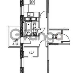 Продается квартира 1-ком 42.83 м² улица Валерия Гаврилина 18к 1, метро Парнас