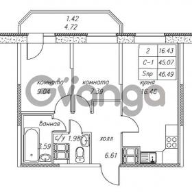 Продается квартира 2-ком 46.49 м² улица Валерия Гаврилина 18к 1, метро Парнас