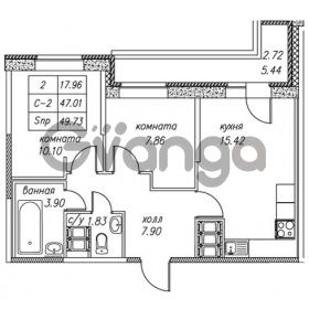 Продается квартира 2-ком 49.73 м² улица Валерия Гаврилина 18к 1, метро Парнас