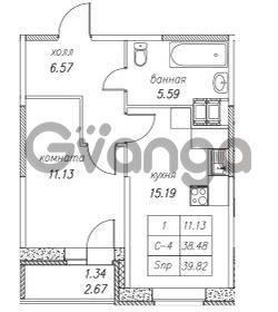 Продается квартира 1-ком 39.82 м² улица Валерия Гаврилина 18к 1, метро Парнас