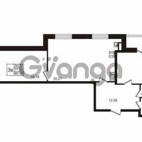 Продается квартира 2-ком 77 м² улица Катерников 1, метро Проспект Ветеранов
