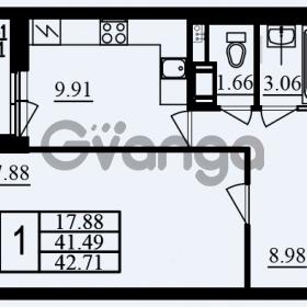 Продается квартира 1-ком 42.71 м² проспект Маршала Блюхера 11к А, метро Лесная