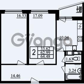 Продается квартира 2-ком 64.48 м² проспект Маршала Блюхера 11, метро Лесная