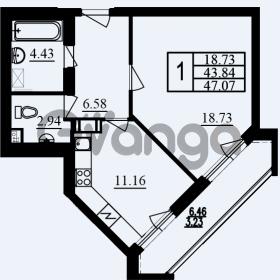 Продается квартира 1-ком 47.07 м² проспект Маршала Блюхера 11, метро Лесная