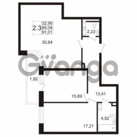 Продается квартира 2-ком 89.09 м² улица Адмирала Черокова 18к 2, метро Проспект Ветеранов