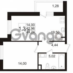 Продается квартира 1-ком 42.96 м² улица Адмирала Черокова 18к 2, метро Проспект Ветеранов