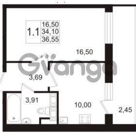 Продается квартира 1-ком 34.1 м² улица Адмирала Черокова 18к 2, метро Проспект Ветеранов