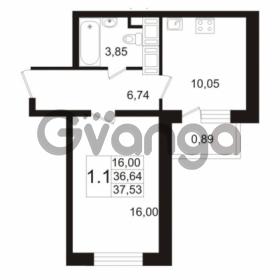 Продается квартира 1-ком 36.64 м² улица Адмирала Черокова 18к 2, метро Проспект Ветеранов