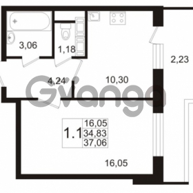 Продается квартира 1-ком 34.83 м² улица Адмирала Черокова 18к 3, метро Проспект Ветеранов