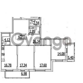 Продается квартира 3-ком 111.53 м² Приморский проспект 52, метро Старая деревня