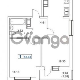Продается квартира 1-ком 43 м² Гаражный проезд 1, метро Проспект Просвещения