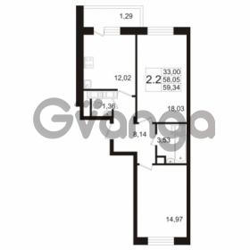 Продается квартира 2-ком 58.05 м² улица Адмирала Черокова 18к 3, метро Проспект Ветеранов
